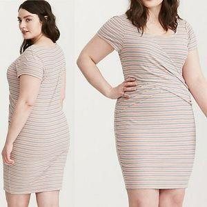 Torrid Multi Striped Ribbed Bodycon Dress - NWOT